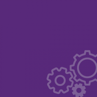 Three cogs on a purple background.